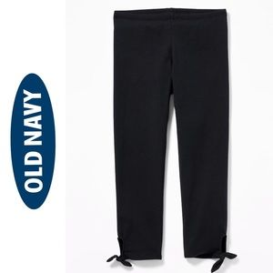 NWT Old Navy Black Cropped Side Tie Leggings M (8)